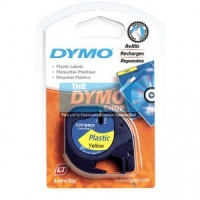 Dymo 12mm Yellow Plastic LetraTAG tape (91202)